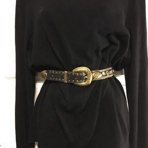 Usmeco Paris Vintage Leather Mesh Embellished Belt